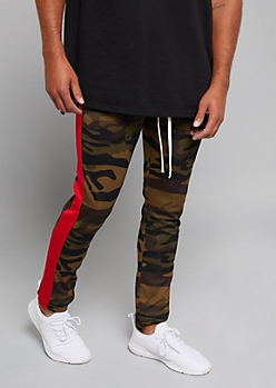 Camo Print Red Side Striped Track Pants