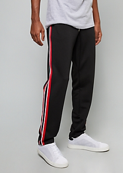 Black Side Striped Skinny Track Pants