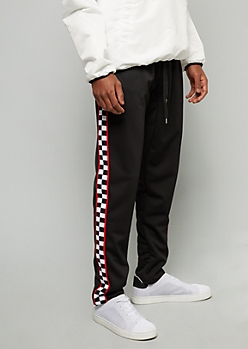 Black Checkered Print Side Striped Skinny Track Pants