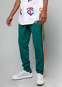 Hunter Green Side Striped Skinny Track Pants
