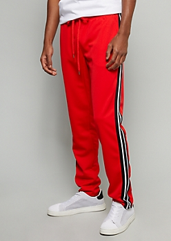 Red Side Striped Skinny Track Pants