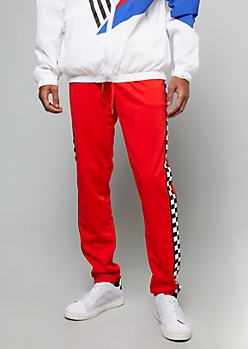 Red Checkered Print Side Striped Skinny Track Pants