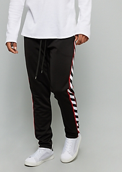 Black Side Striped Red Tricot Track Pants