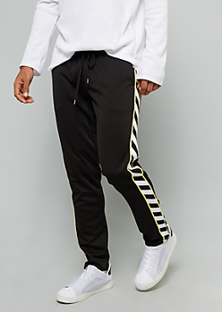 Black Side Striped Yellow Tricot Track Pants