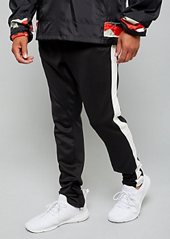 Black Zip Ankle White Side Striped Track Pants