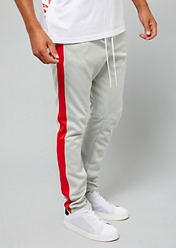 Gray Zip Ankle Red Side Striped Track Pants