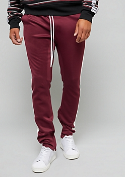 Burgundy Zip Ankle White Side Striped Track Pants