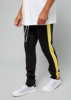 Black Zip Ankle Yellow Side Striped Track Pants