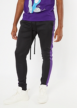 Purple Side Striped Tricot Track Pants