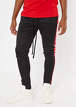 Red Side Striped Tricot Track Pants