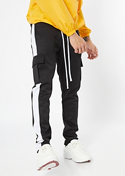 Black Side Striped Cargo Track Pants