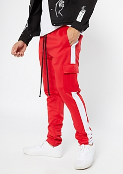 Ultra Flex Red Side Striped Cargo Track Pants