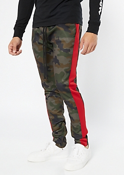 Camo Print Side Striped Track Pants