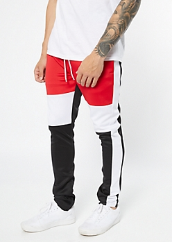 Ultra Flex Red Colorblock Track Pants