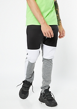 Black Marled Colorblock Track Pants