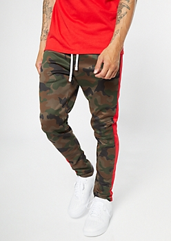 Camo Print Side Striped Drawstring Track Pants