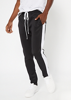 Black Side Striped Drawstring Track Pants