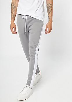 Gray Side Striped Drawstring Track Pants