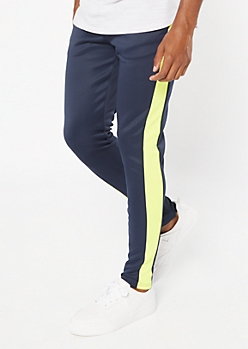 Navy Side Striped Drawstring Track Pants