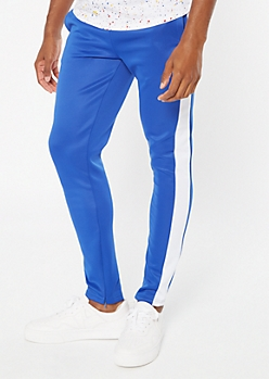 Royal Blue Side Striped Drawstring Track Pants
