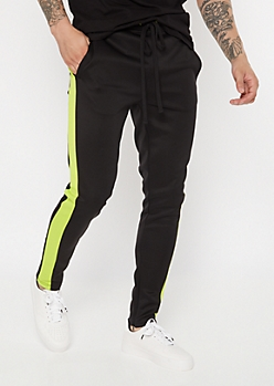 Neon Green Side Striped Drawstring Track Pants