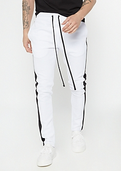 White Side Striped Drawstring Track Pants