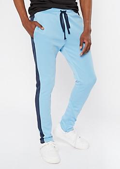 Light Blue Side Striped Drawstring Track Pants