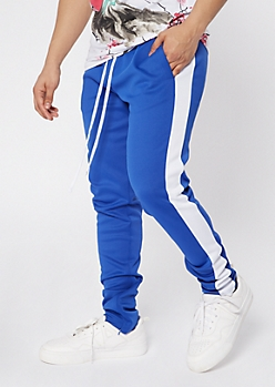 Blue Side Striped Drawstring Track Pants
