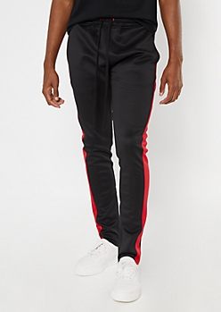 Red Side Striped Drawstring Track Pants