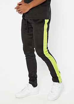 Green Side Striped Drawstring Track Pants