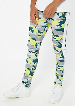 Green Camo Print Side Striped Drawstring Track Pants