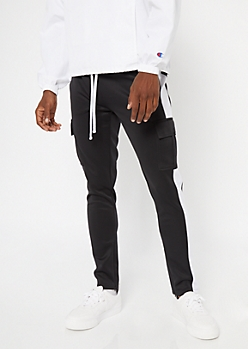 Black Cargo Side Striped Track Pants