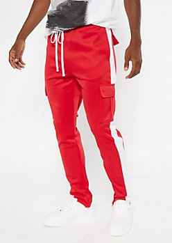 Red Cargo Side Striped Track Pants