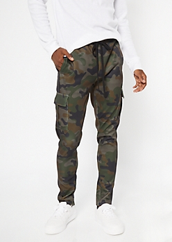 Camo Print Cargo Side Striped Track Pants