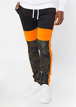 Camo Print Colorblock Drawstring Track Pants