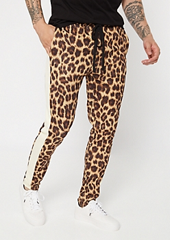 Leopard Print Side Striped Drawstring Track Pants