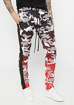 Red Gradient Camo Print Track Pants