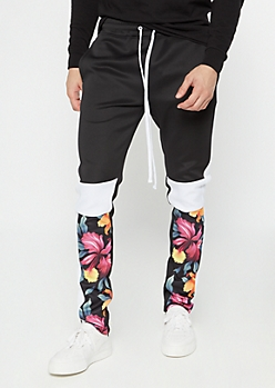 Black Tropical Flower Colorblock Track Pants