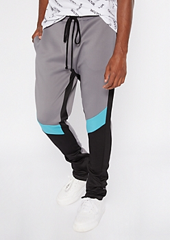 Gray Colorblock Side Striped Track Pants