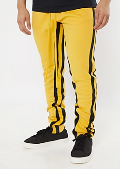 Yellow Side Striped Drawstring Track Pants