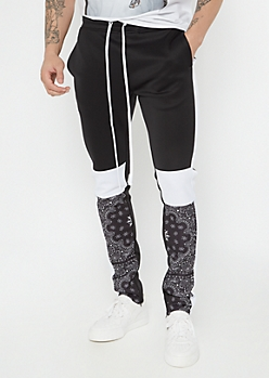 Black Paisley Bandana Colorblock Track Pants