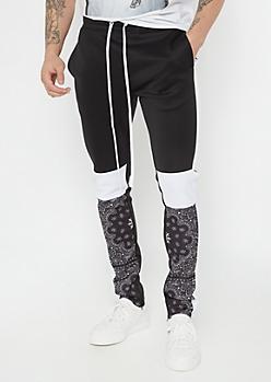 Black Paisley Bandana Colorblock Track Pants