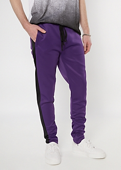 Purple Side Striped Drawstring Track Pants
