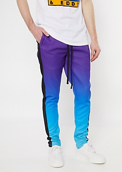 Purple Dip Dye Side Striped Track Pants