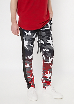 Red Ombre Camo Print Side Striped Track Pants