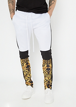 White Border Print Colorblock Track Pants