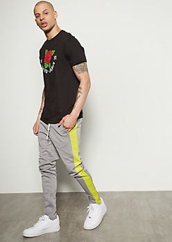 Gray Neon Side Striped Skinny Track Pants