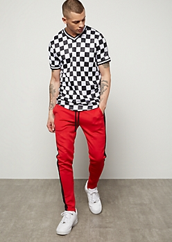 Red Side Striped Skinny Track Pants d6fef3a5a