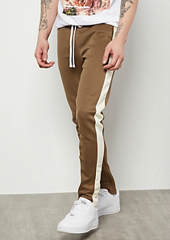 Olive Green Side Striped Skinny Track Pants