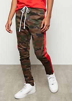 Dark Camo Print Side Striped Track Pants